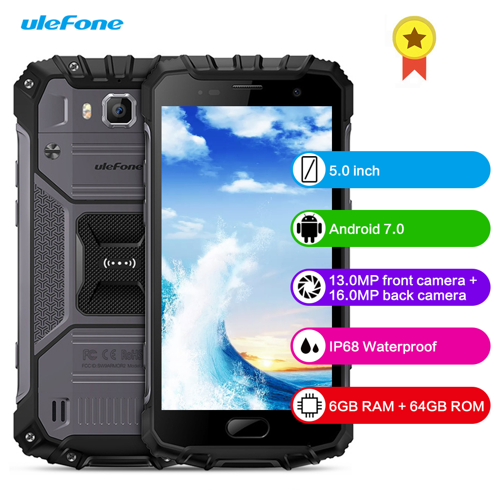 Ulefone Armor 2 4G Smartphone Android 7.0 5.0 pouces Octa Core 2.6 GHz IP68 étanche NFC 16.0MP caméra arrière 6 GB RAM 64 GB ROM