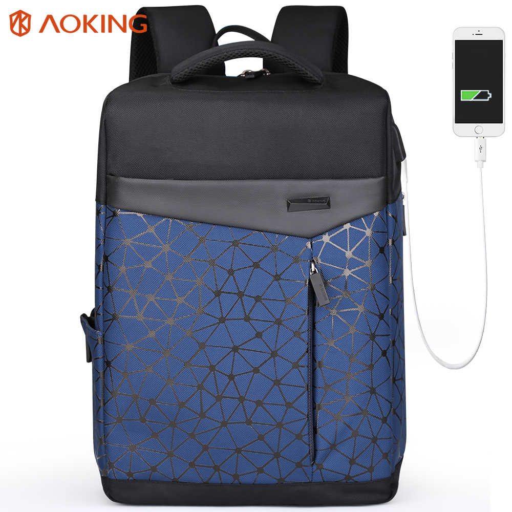 Aoking étanche Anti-vol sac à dos hommes avec Port de chargement USB collège étudiants sac à dos pour ordinateur portable urbain géométrique sac d'école