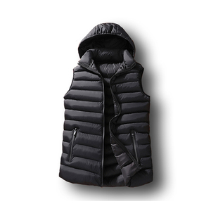 Image 2 - Mens Winter Sleeveless Jacket Men Down Vest Mens Warm Thick Hooded Coats Male Cotton Padded Work Waistcoat West Homme Vests