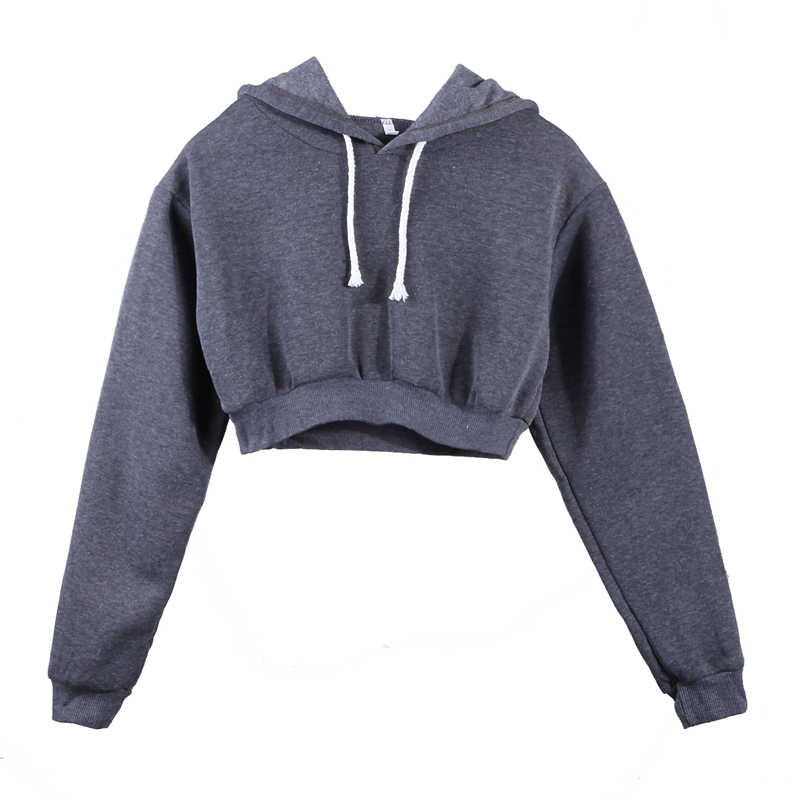 5 Colors Fashion Solid Hoodies Women Sweatshirt Solid Crop Tops Hooded Long Sleeve Jumper Pullover Coat Casual Sweatshirt Top
