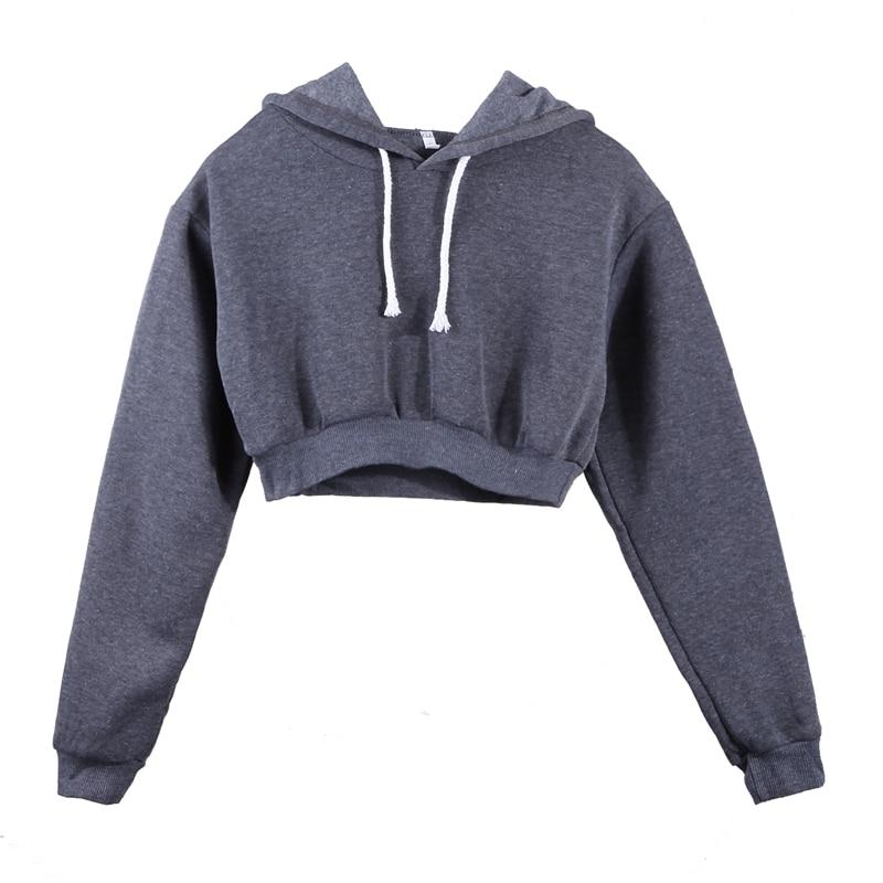 5 Colors Fashion Solid Hoodies Women Sweatshirt Solid Crop Tops Hooded Long Sleeve Jumper Pullover Coat Casual Sweatshirt Top
