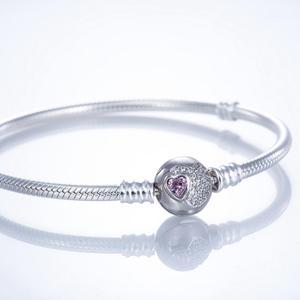 Image 5 - Браслет с розовым фотоэлементом, браслеты из серебра 925 пробы JCL002
