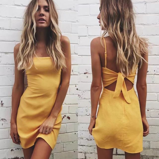 493e26e85e01 Backless 2018 beach summer dress women sundress Bow casual linen sexy dress  Slim fit bodycon white