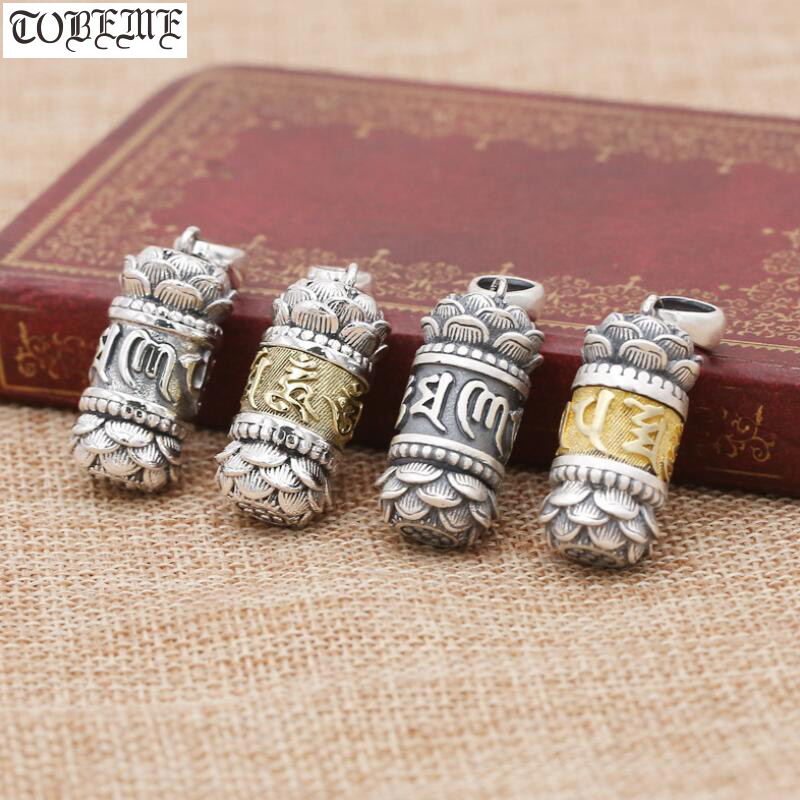 Tibetan 990 silver Lotus Gau pendant vintage silver OM Mani Padme Hum Ghau Box pendant Buddhist