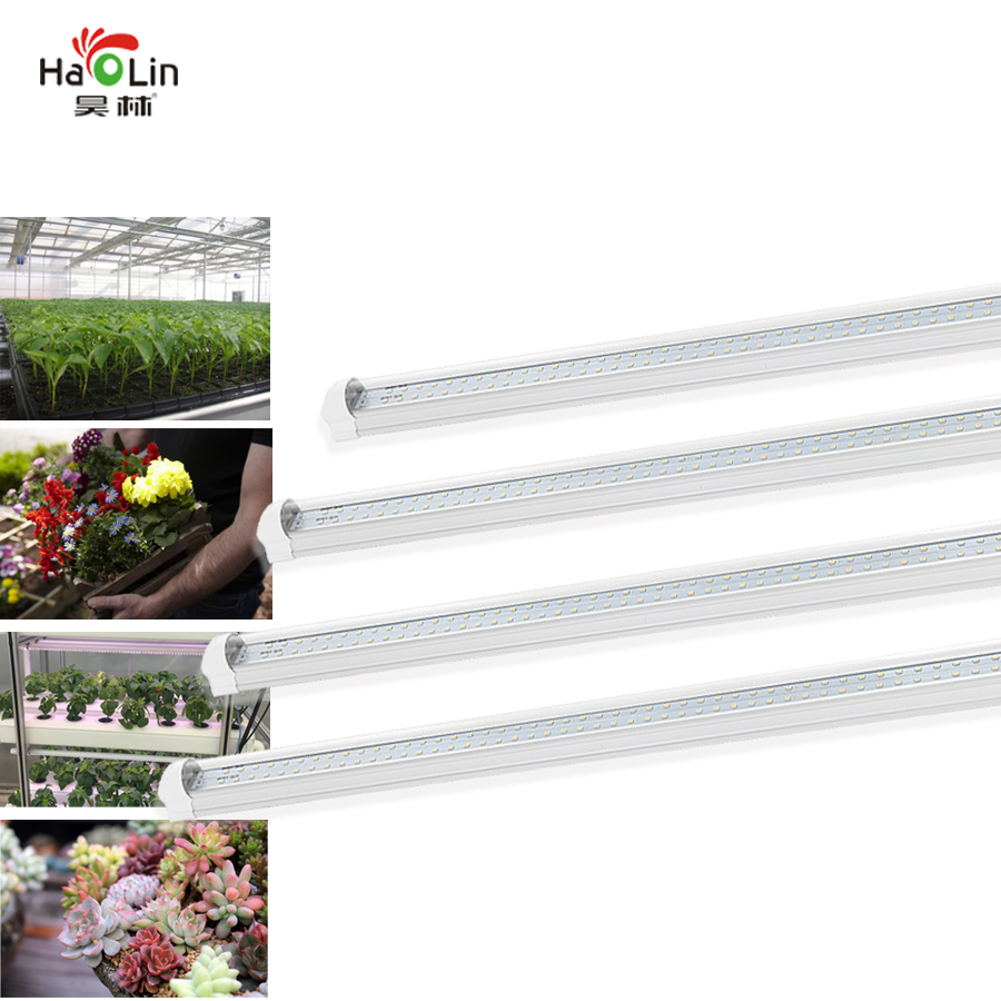 4pcs Double-line Indoor Led Plant Grow Lights Full Spectrum Sunlight Simulation T8 Grow Tubes Kit For Greenhouse Hydroponics