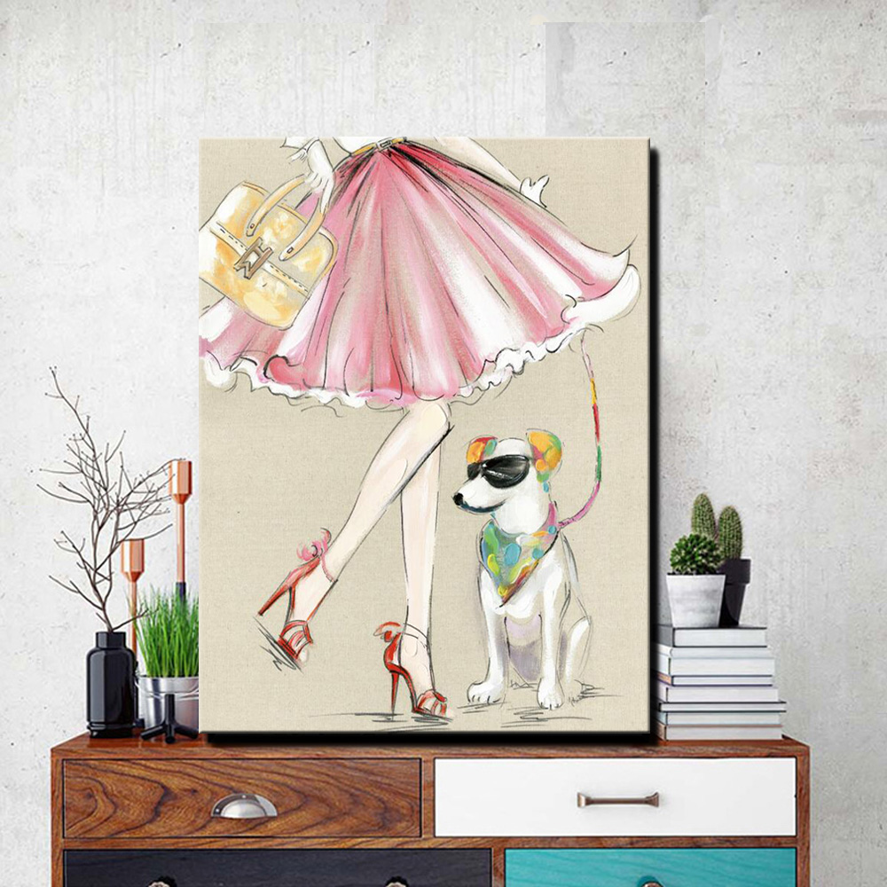 Modern Canvas Painting A Cool Dog With A Girl Oil Painting On Canvas Wall Paintings Picture For Living Room Wall Art Wall Decor image