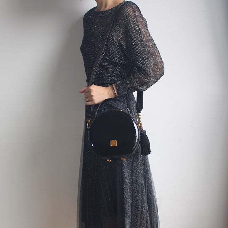 BENVICHED Das Senhoras saco de couro Real Rodada 2019 nova moda Pure color bolsa único saco de ombro de couro saco de Patente Brilhante c376 - 6