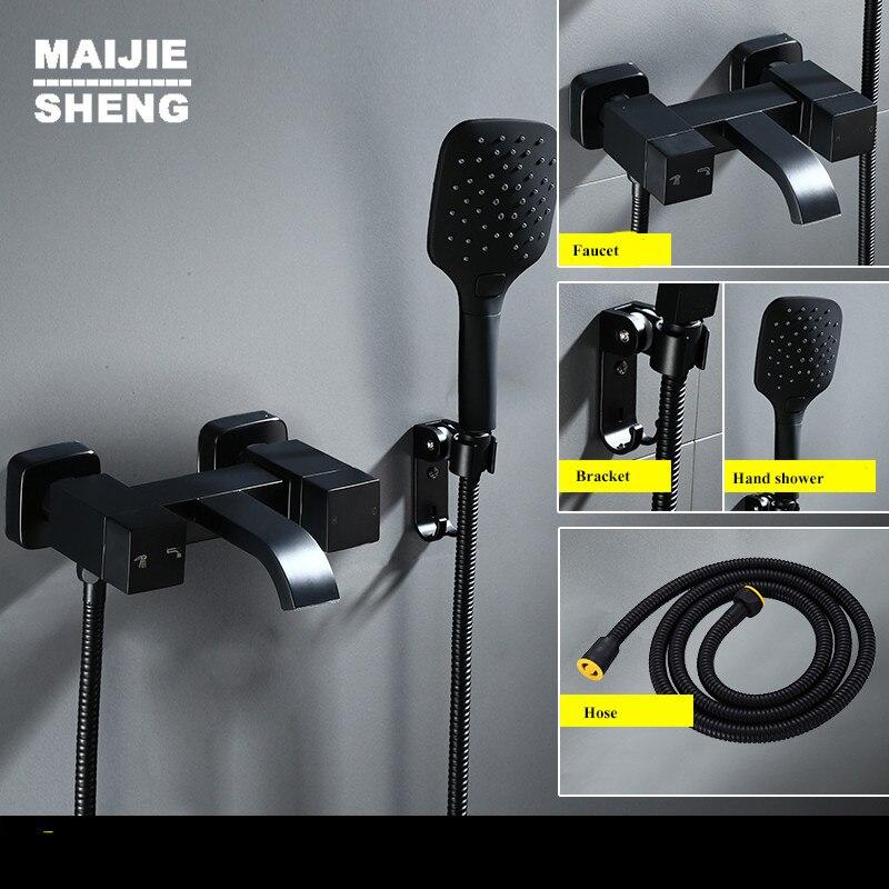 Maijiesheng noir cuivre de douche mélangeur ensemble douche chaude et froide mixer mur noir de bain douche robinet mur robinet rétro simple douche ensemble