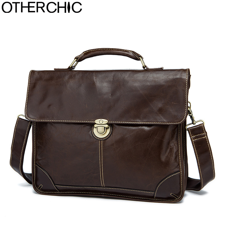 OTHERCHIC Brand Portfolios Luxury Briefcase Genuine Leather 14 Laptop Business Bag Men Messenger Bags Lawyer Handbags 7N05-19 new genuine leather coffee men briefcase 14 inch laptop business bag cowhide men s messenger bags luxury lawyer handbags lb9006