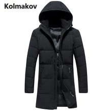 KOLMAKOV 2017 new winter high quality men's hooded solid color down jacket long parkas,85% white duck down coats men.size M-3XL.