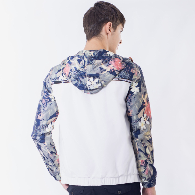 Drop Shipping Floral Bomber Jacket Men Hip Hop Slim Fit Flowers Pilot Jacket Coat Men's Hooded Jackets Us Size Free Shipping #5