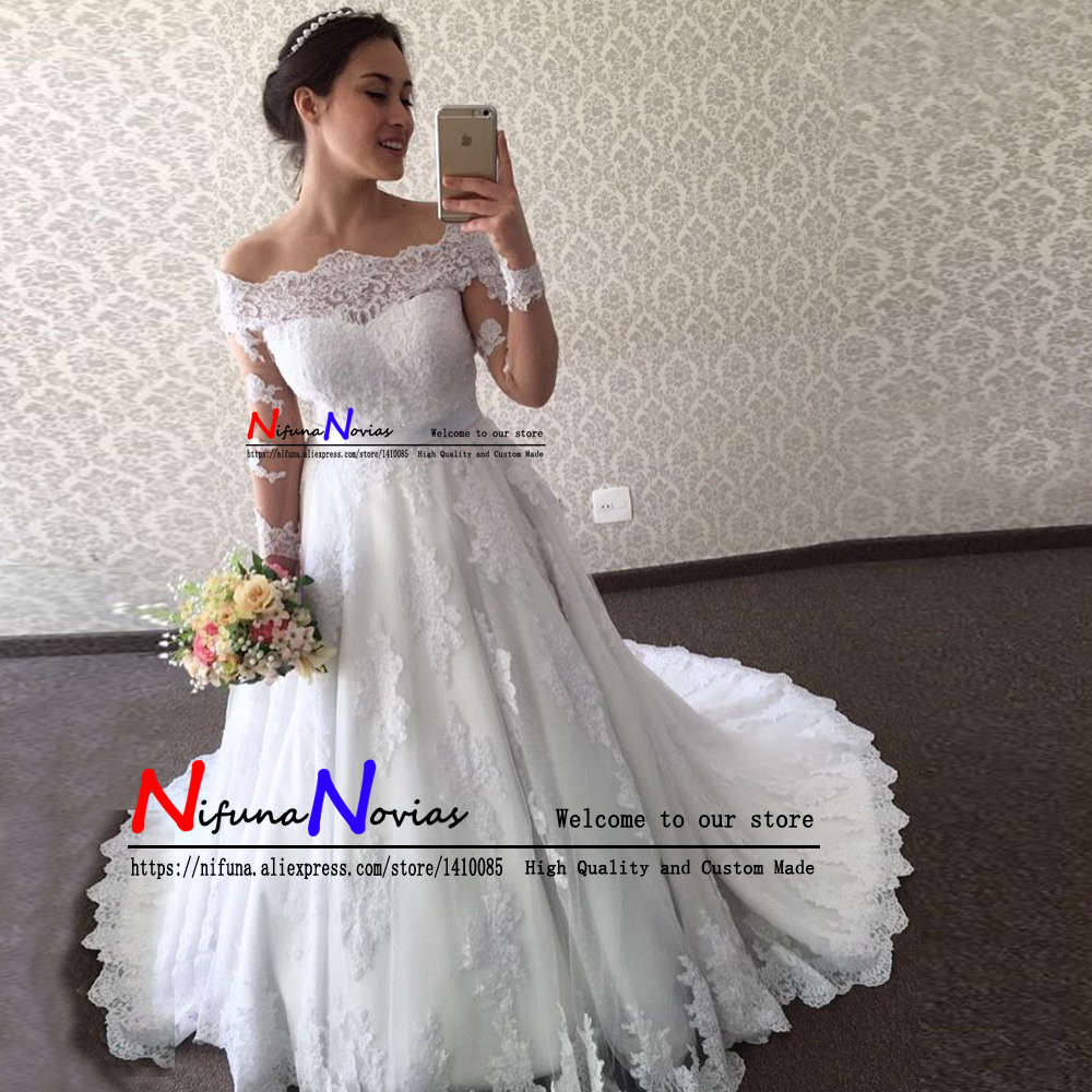Vestidos de Noiva 2019 Sexy Off the Shoulder Wedding Dresses Long Sleeves Appliques Bridal Wedding Gowns Bride Dress Mariage