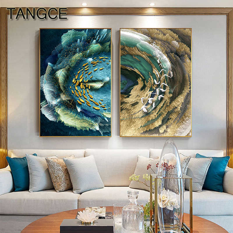 Abstract Golden Feather Canvas Painting Big Blue Poster Green Print Luxury Wall Art Picture for Living Room 3D Effect Tableaux