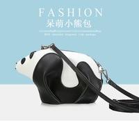 2017 meninas saco de novas bolsas de couro cor hit preto e branco panda Bonito da caixa do pacote