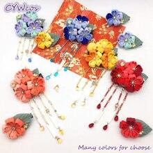 New Flowers Cloth Headdress Japanese Kimono Cherry Flower Traditional Hair Accessories Headwear handmade Yukata Tassel Hairpin