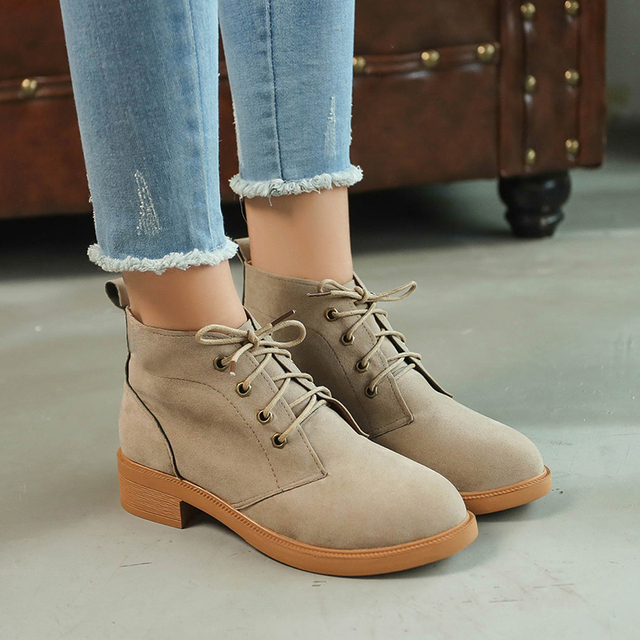 Moxxy Ankle Martin Boots Autumn Shoes Suede Flat Leather Lace Up Booties  Women Boots Botas Female Womens Boots Square Heel a86a026f84aa