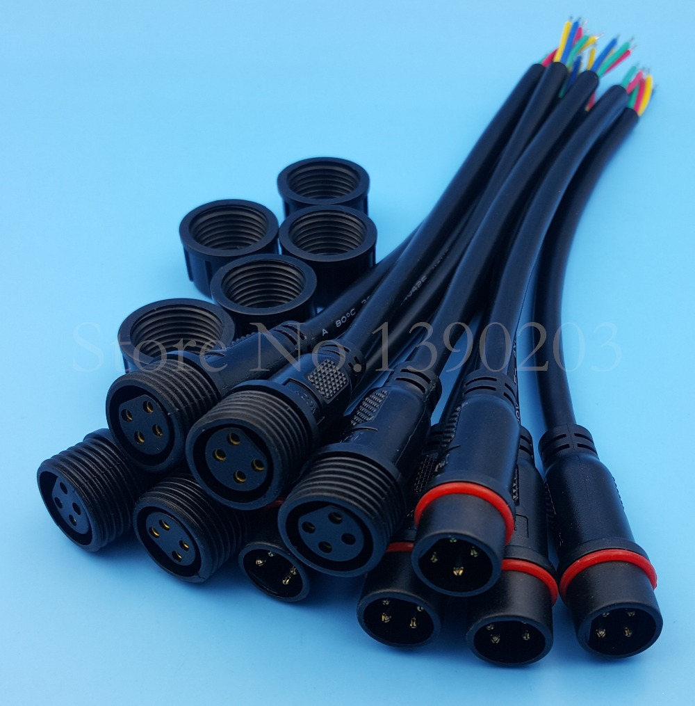 5Pairs 4Pin 20AWG/0.5mm Black IP65 Waterproof LED Strips Cable ...