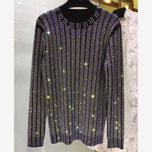 HIGH QUALITY New Fashion 2018 Designer Sweater Women's Long Sleeve Luxurious Diamonds Beaded Pullover Sweater