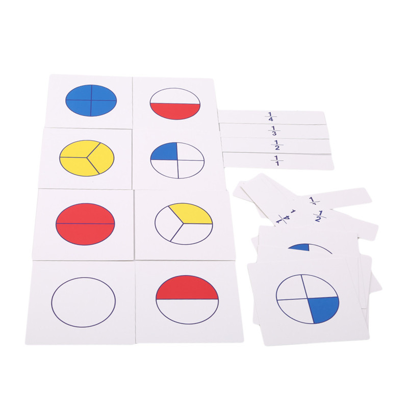1 Set Montessori Math Teaching Aids Kids Early Childhood Education Digital Fraction Card For Learning Mathematics Toy