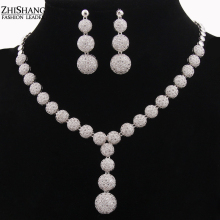 Elegant Luxury Bridal Jewelry Sets For Women Round Cubic Zirconia Diamond Necklace Set African Jewelry Set For Party WS067