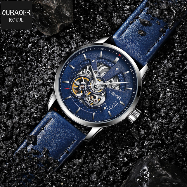 OUBAOER Original Men Watch Top Brand Luxury Automatic Mechanical Watch Leather Military Watches Clock Men Relojes Masculino 4