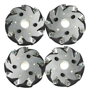Un set di 100mm In Alluminio ruote Mecanum per robot auto (4 pezzi) 14094Un set di 100mm In Alluminio ruote Mecanum per robot auto (4 pezzi) 14094