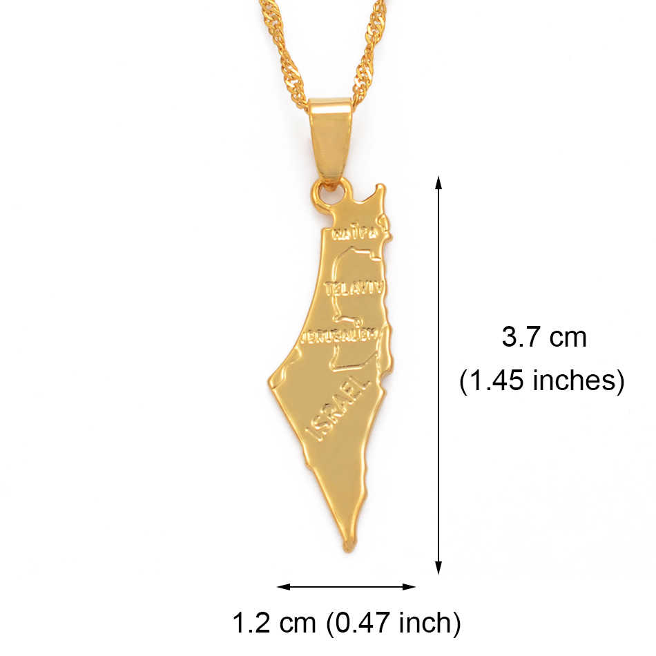 Anniyo izrael mapa i na zachodnim brzegu wisiorek naszyjniki łańcuch złoty kolor biżuteria dla kobiet mężczyzn mapie izrael #003810 @
