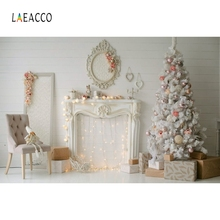 Laeacco Boudoir Interior Fireplace Christmas Tree Photography Backgrounds Customized Photographic Backdrops For Photo Studio