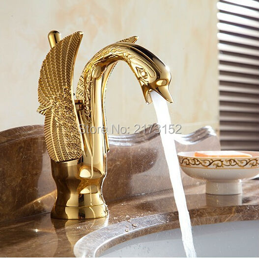 Luxury Gold Plated Swan Shape Bathroom Faucet Animal Shape Brass Basin Sink Mixer Tap G-055 donyummyjo luxury bathroom basin faucet brass golden polish swan shape single handle hot