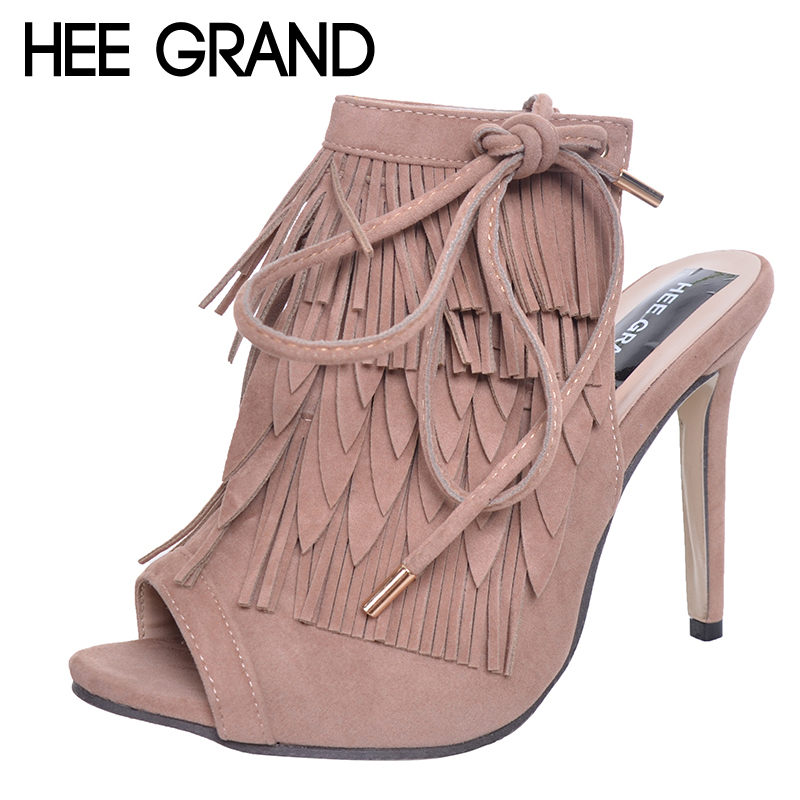HEE GRAND Tassel Gladiator Sandals 2017 Summer High Heels Platform Shoes Woman Vintage Pumps Casual Bohemia Women Shoes WXG336 hee grand gold silver high heels 2017 summer gladiator sandals sexy platform shoes woman casual shoes size 35 43 xwz4075