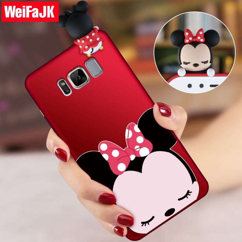 WeiFaJK 3D Niedlichen Cartoon Telefon Fällen für Samsung Galaxy S8 S9 Plus hinweis 8 Weiche Silikon-mattfall-rückseitige Abdeckung für Samsung S8 S7 Rand Fall