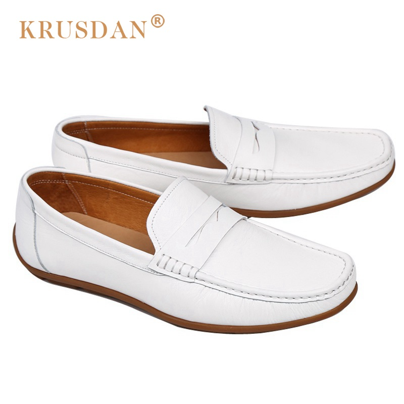 KRUSDAN Basic Comfortable Man Casual Shoes Genuine Leather Handmade Loafers Round Toe Slip on Men's Moccasin Driving Flats OQ66