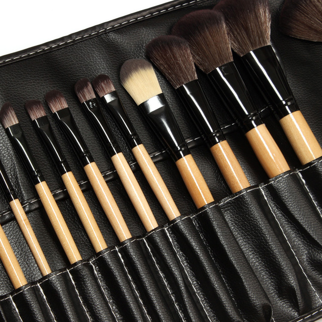 24 Pcs Macio Cabelo Sintético compõem kit ferramentas Cosméticos Maquiagem Pincel Preto Define com Capa De Couro Profissional