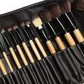 24 Unids Suave Pelo Sintético compone el kit de herramientas Cosmética Maquillaje Pincel Negro Conjuntos con Funda De Cuero Profesional