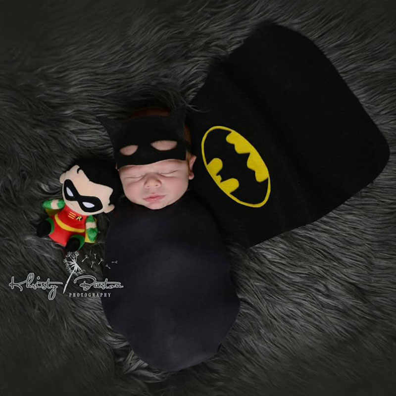 Stretch Wrap Batman Hat Sets Newborn Boy Photography Props Tiny Photoshoot  Wrap Outfits Baby Picture Shoot 1ae306fb73a0