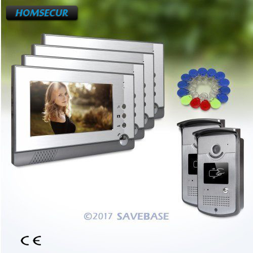 HOMSECUR IP54 HAND-FREE Video Door Intercom System With Real-time Outdoor Monitoring 2V4