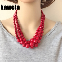 Free Shipping Three Layers New Red Stone Choker Collar Necklace