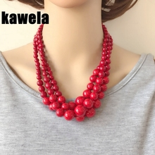 Free Shipping Three Layers New Red Stone Choker Collar Necklace free shipping wholesale false collar 2 layers lace collar necktie tie necklace jewelry