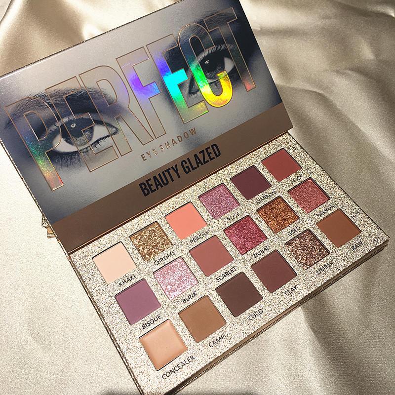 Beauty Glazed 18 Color Makeup Eyeshadow Palette Nude Waterproof Glitter Pigment Smoky Eye Shadow Pallete 18Color Make Up Palette