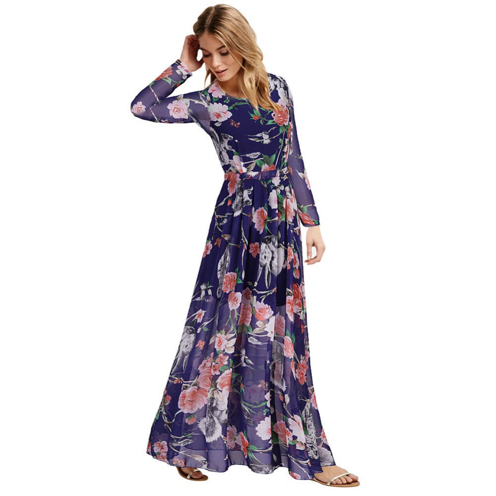 big size 6xl women printing flowers chiffon long sleeve chiffon dress ladies elegant long maxi. Black Bedroom Furniture Sets. Home Design Ideas