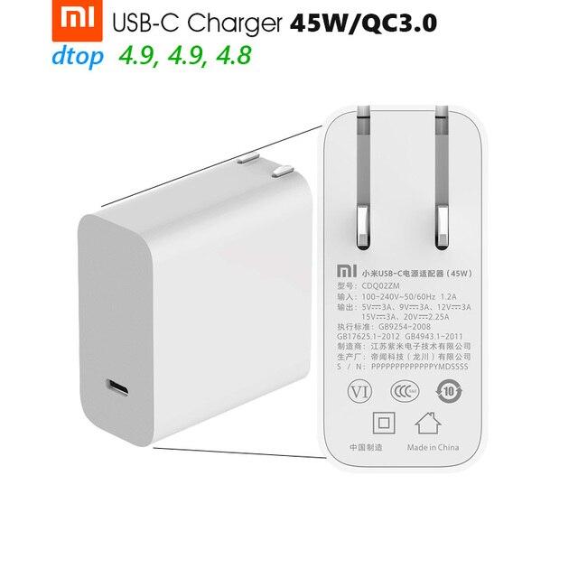 """מקורי Xiaomi Mi USB C מטען 45W מקסימום חכם פלט סוג C יציאת USB פ""""ד 2.0 טעינה מהירה QC 3.0 מתנה כבל"""