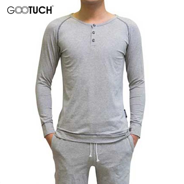 Más tamaño pijama de algodón para hombre salón homewear pijamas pijama conjunto o cuello de invierno ropa ropa hombres piyamas gootuch 2346