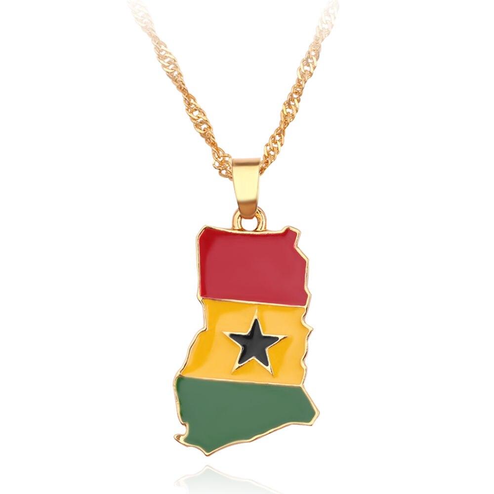 Новая карта страны, флаг, ожерелье, Африка, Гана, Liberia Undersea, Jamaica, Южная Африка, Congo, Honduras, подвеска, цепь, мужские ювелирные изделия - Окраска металла: Ghana