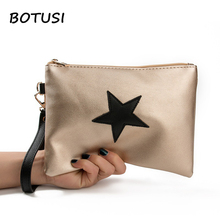 BOTUSI Star Fashion Luxury Handbags Women Bags Leather Zipper Clutch Bag Envelope Evening Female Mini Day Clutches
