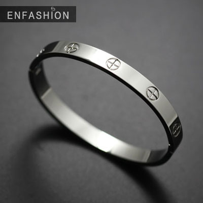 Fashion cross bracelet bangle cuff bracelets women black silver stainless steel bangles jewelry - ENFASHION JEWELRY Store store