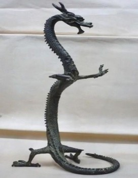 Antique bronze Pure Copper Old Brass Collectible Decorated exquisite bronze Chinese dragon statue Figures