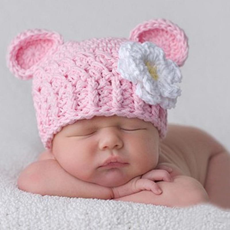 Cute Winter Autumn Kids Knit Caps Baby Girls Crochet Beanie Hats 2017 New Arrival Hot Sale Toddler Newborn Baby Flower Bebes Cap