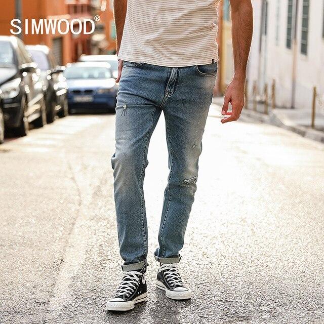 93e64fc4540 SIMWOOD Marque Jeans Hommes 2018 Automne Mode Slim Fit Denim Pantalon Plus  La Taille Jeans de