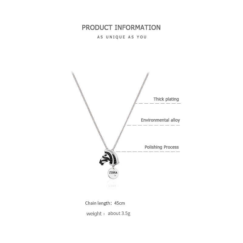ZEGL Zebra Necklace Pendant Clavicle Chain Personalized Necklace chokers necklaces for women Neck chain