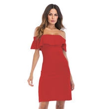 VZFF Elegant sexy red or black natural waist stretch tight dress summer new 2019 word collar slim bag hip